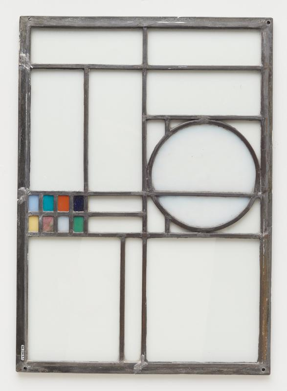 clear glass panels with light blue circle on one side and 8 small colored rectangles at left (light blue, yellow, rose, green, turquoise, orange and blue)