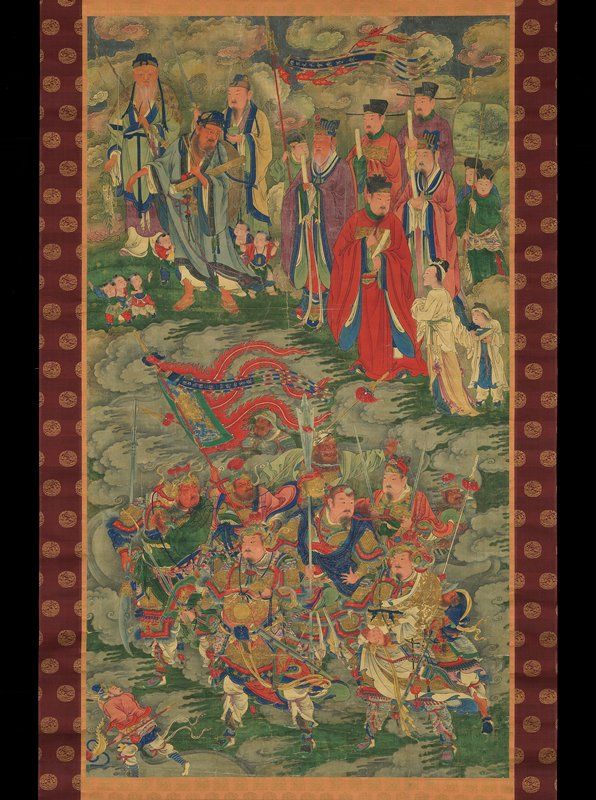 Group of elaborately dressed men with flowing draperies clustered around a man with a large red flag at bottom; procession of simply dressed men carrying fishing poles and scrolls (?) with six small boys at top; copper roller