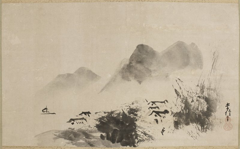 sketchy drawing of mountains in background; rooftops seen through dense foliage; small boat at L; 'flung ink' style