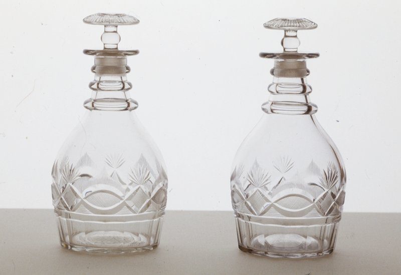 glass with etched designs, free blown and engraved lead glass