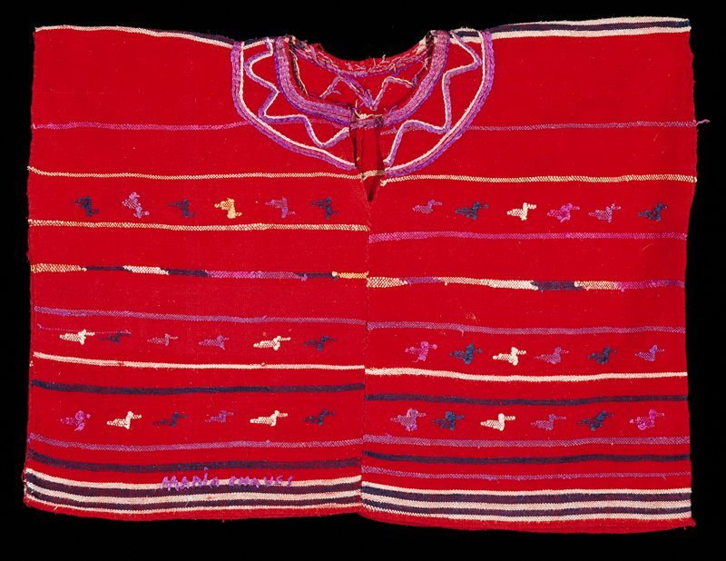 Two panel huipil with round-cut neck opening; red ground with purple, white, blue weft stripes; supplemental weft patterning of zoomorphic figures, primarily birds; embroidery around the neck, weaver's name embroidered at lower edge.