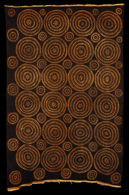mud cloth panel; serpent-egg pattern; Surface ornamentation (Dyed)