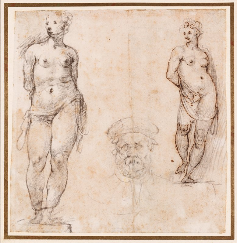 mounted on ivory paper with tan, grey and gold borders; two sketches of female statue in contrapposto pose at right and left edges of paper; central sketch of a bearded man wearing a cap at center bottom