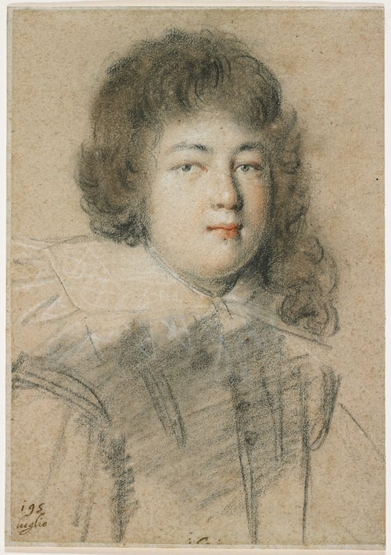 mounted to stiff grey paper; portrait of a boy with a round face; dark brown hair with asymmetrical hairstyle--shorter on PR side, longer on PL side; large white collar; sketched suggestion of jacket