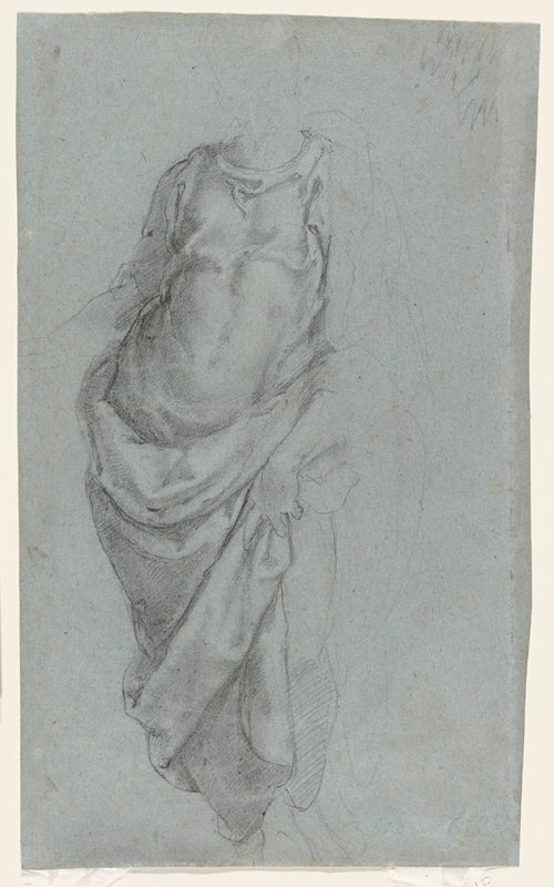 recto: study of drapery on a standing figure; head, PR arm and PL upper arm/shoulder slightly differentiated, but features not included; figure holds drapery against PL thigh; some muscles of torso visible through drapery; verso not examined--received framed