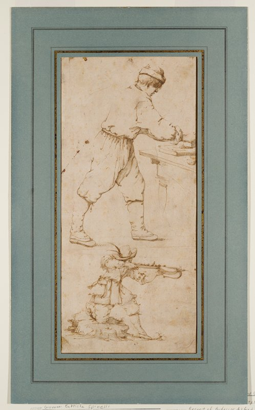 mounted to ivory paper with blue overmat; top drawing of man wearing knickers, tall spats, simple shirt and cap, with straight hair; man seen from PR, standing, working at a table; crossbowman at bottom with PR knee on a rock, with crossbow held up; man wears a hat with two long feathers