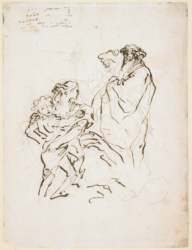 mounted on ivory paper with brown border; sketchy; seated woman hugging distressed child at left; standing man at right; handwritten text, ULC