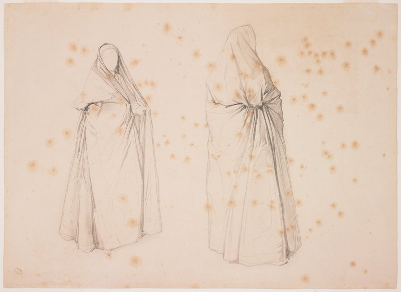 two studies of a faceless figure wearing a long hooded cape