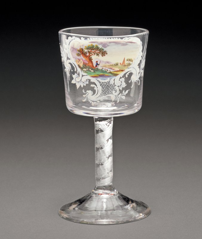 goblet, about 1765-1770; glass;, bucket bowl on double series twist stem; enamel decoration showing landscape in cartouche shape; decoration attributed to shop of William (1740-1819) and Mary (1749-1797) Beilby in Newcastle-on-Tyne
