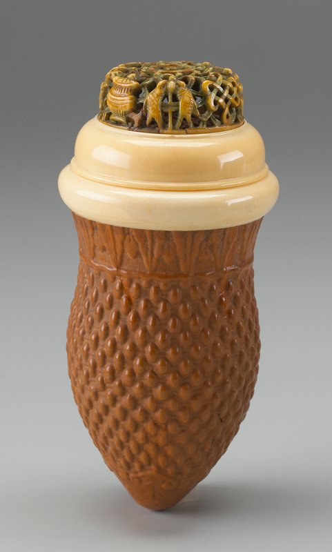 gourd with basketweave pattern; ivory ring at mouth; domed cover with ivory top, carved with 7 objects around edge and tinted green
