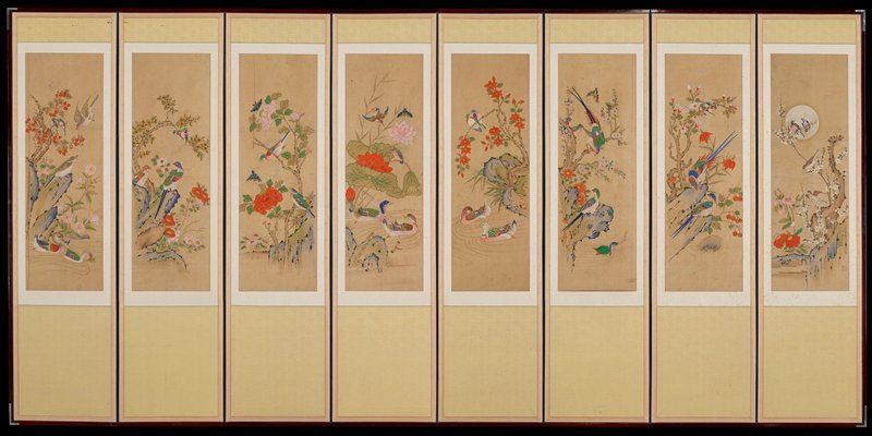 paintings of birds, foliage and water; predominant greens, blues and oranges