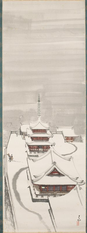 Kiyomizu Temple in Snow, Kyoto Ink on paper, hanging scroll. Part of a set of three - 81.2.21 and 96.146.177; all stored in same box