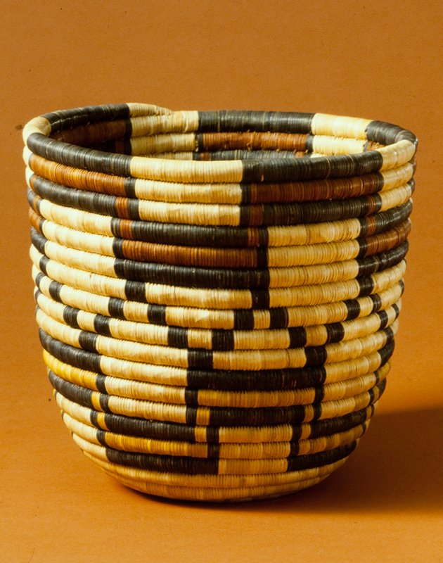 Basket, coiled grass and yucca fibers, American Indian (Hopi), XXc NO PHOTO ON CAT. CARD cat. card dims H 9-1/2' diam 9-3/4' in red, black and yellow stepped design