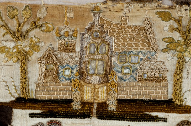 stumpwork picture, embroidered; design gentleman and lady in garden with animal in foreground and gate in distance