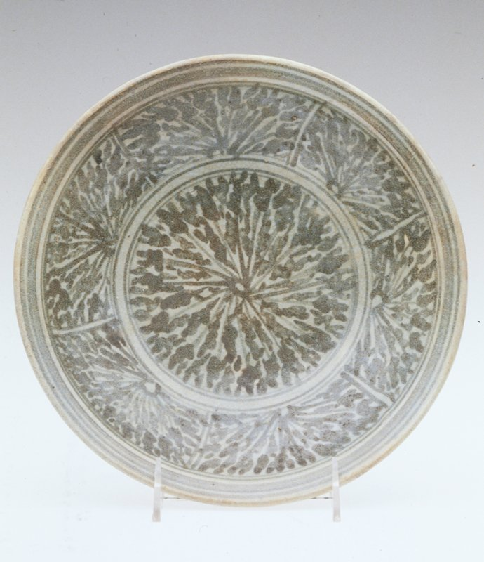 Shallow Bowl, Kalong ware; brown underglaze with blueish tint overglaze; porcelaneous stoneware.