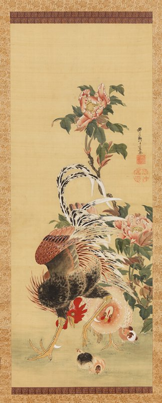 rooster standing in wide stance, with head down by legs, watching a chick at bottom; hen and two other chicks to the R; flowering pink bush at R extending to top
