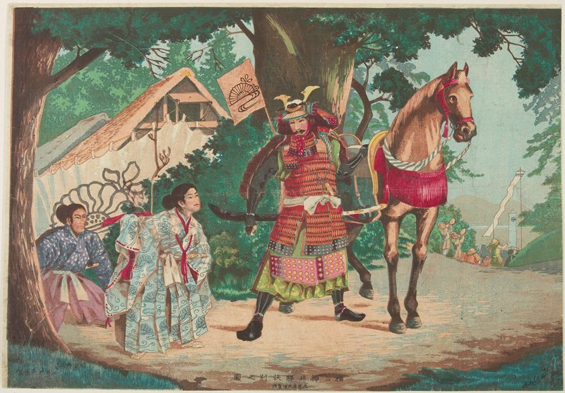 warrior standing with horse in front of large tree