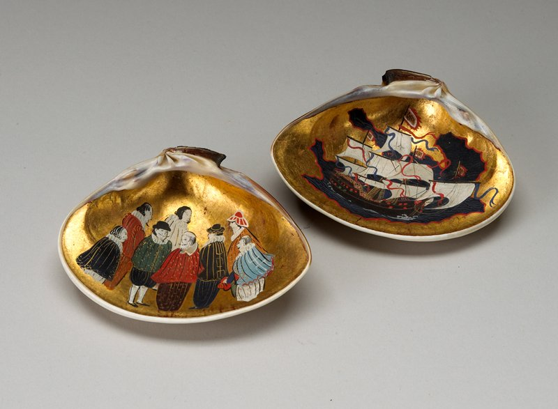 top half of shell outside has lacquered red rock formations and cold-colored leaves; trade ship painted on gilt background on inside; bottom half of shell 8 standing men painted on gilt background
