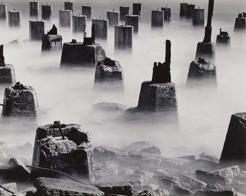 uneven concrete blocks in mist