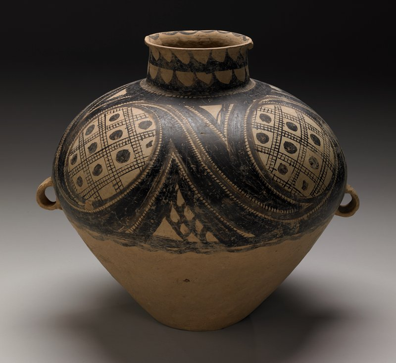 burial jar, earthenware with painted decor
