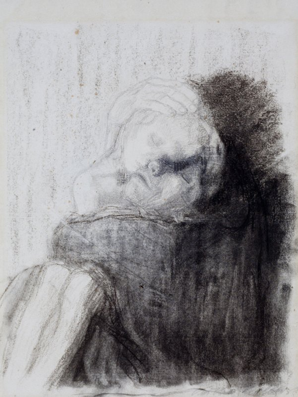 Framed; chalk sketch of mother's hand verso