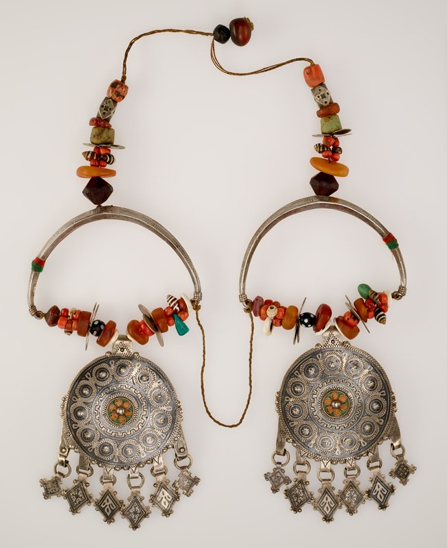 Ear Hangers coins, amber, and shells, green and yellow enamel