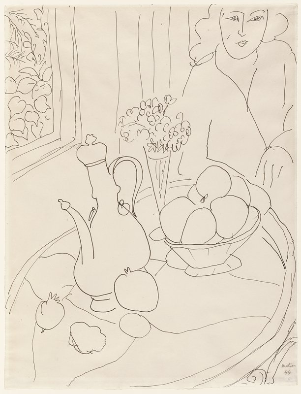 still life on table in foreground; woman in back on right; window on left