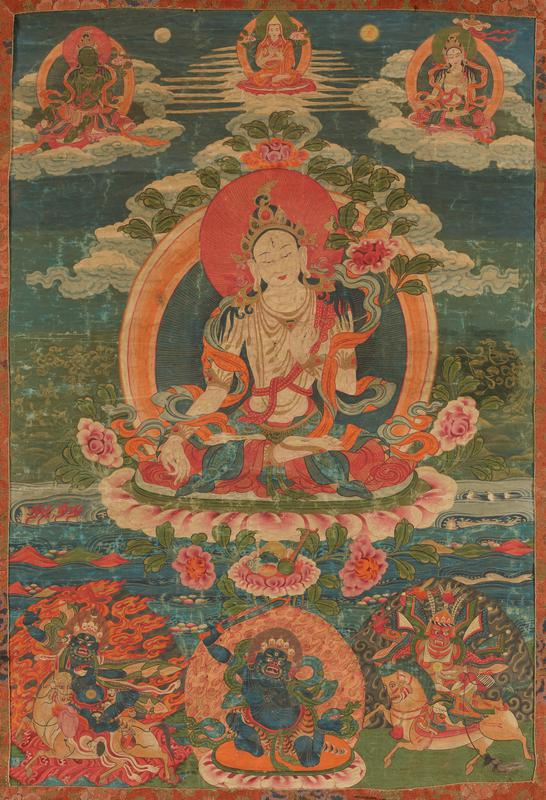 A thanka, pigments on fabric; Tara, goddess of mercy, holds in her left hand a lotus blossom; her right hand expresses gesture of 'varada mudra' (compassion); Upper right corner is Padmasambhava with Karmavajra on his left and a llama between; three protective images are represented at the bottom.