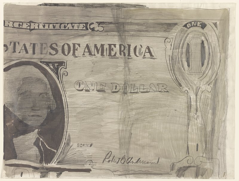 sketchy drawing of a partial recto side of a crumbled U.S. dollar bill
