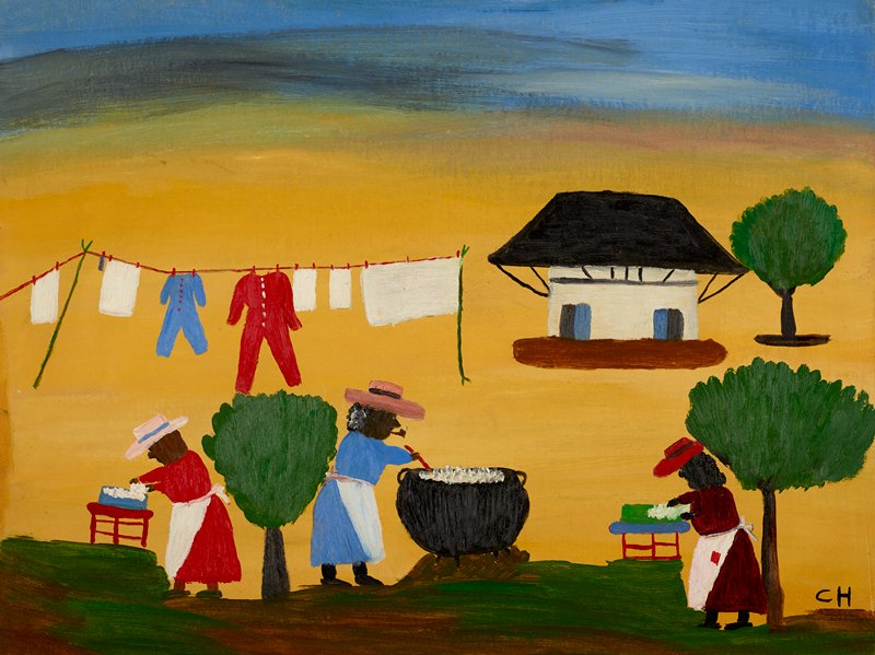 Genre. Naive. Primitive. African American. Three figures doing the wash in the foreground, clothesline and Africa House in the background.