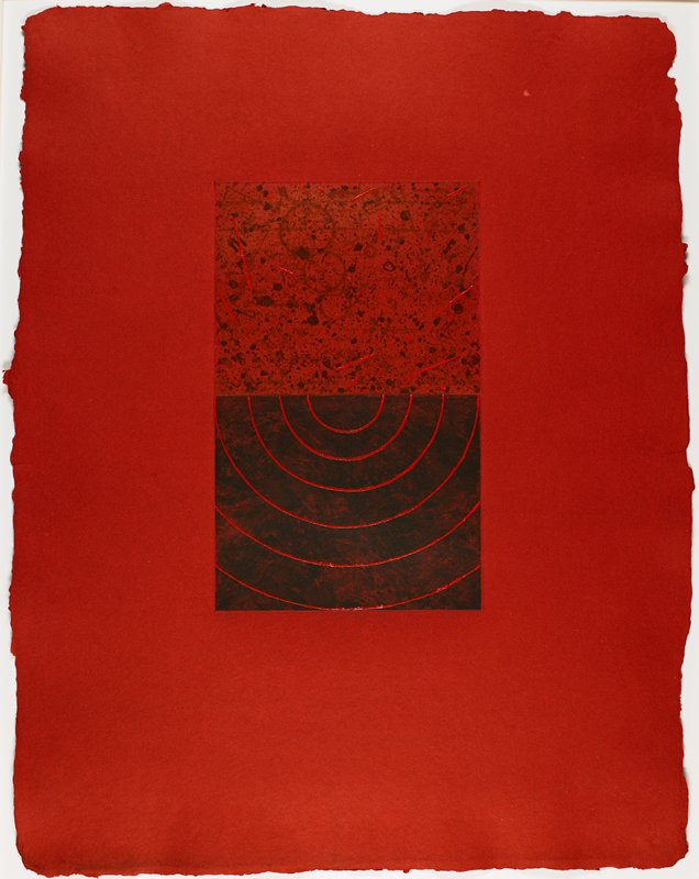 red sheet; image in two parts; one part dark black background with concentric red half circles; second part has reddish black background with black speckles and red streaks