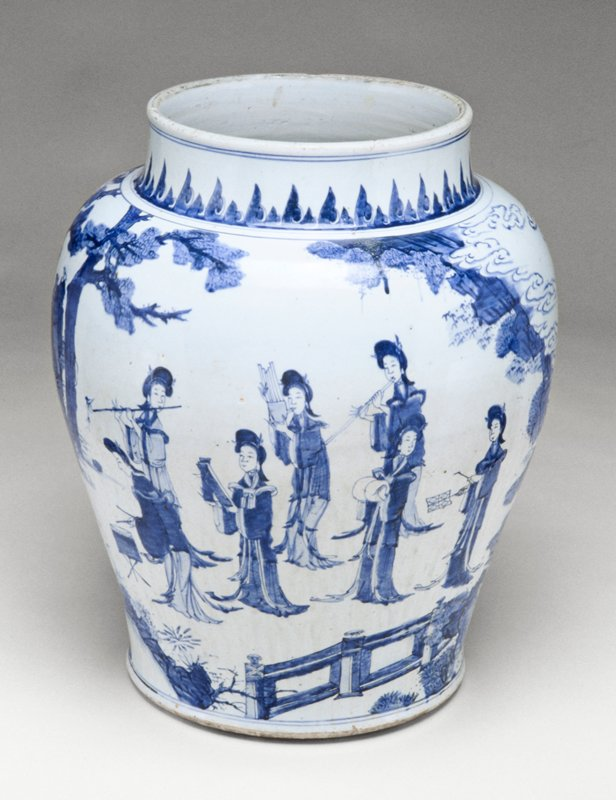 large blue and white baluster jar