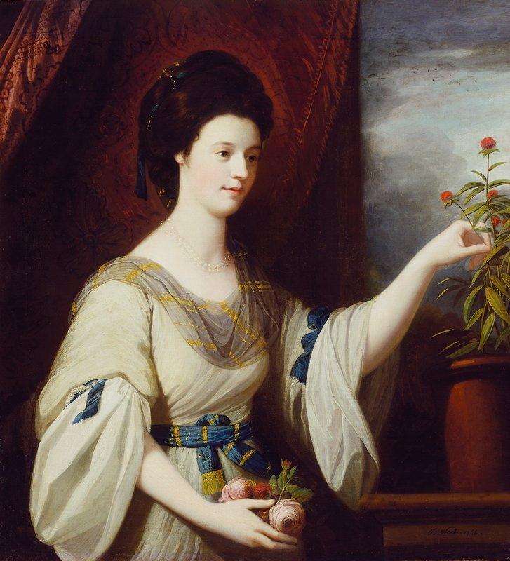 Portrait of Diana Mary Barker. Young woman turned three-quarters toward the spectator, with dark eyes straight ahead, raises left hand to pick a small pink flower growing in a pot; in the other, she holds some pink roses. Blue and gold striped ribbon, barely discernible, wound about dark hair. Fair complexion, aquiline nose. Greyish-tan dress, full elbow-length sleeves and undersleeves caught up with pearls and blue ribbon. Grey and gold striped scarf draped around neck; blue and gold striped belt with gold fringe. Double strand of pearls caught loosely about base of throat.