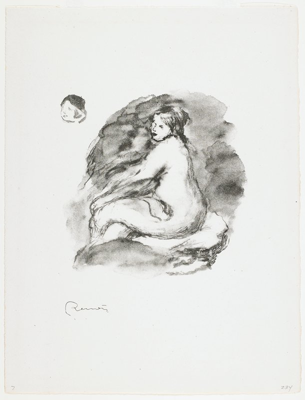 seated female nude in profile, with head turned to 3/4 view; another face in ULC