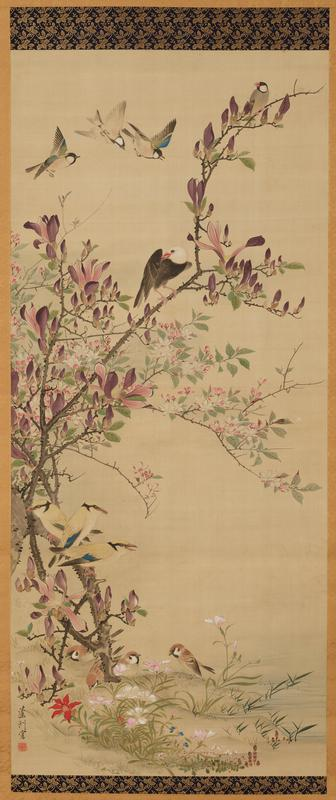 magnolia with a variety of small birds in and flying around its limbs and base