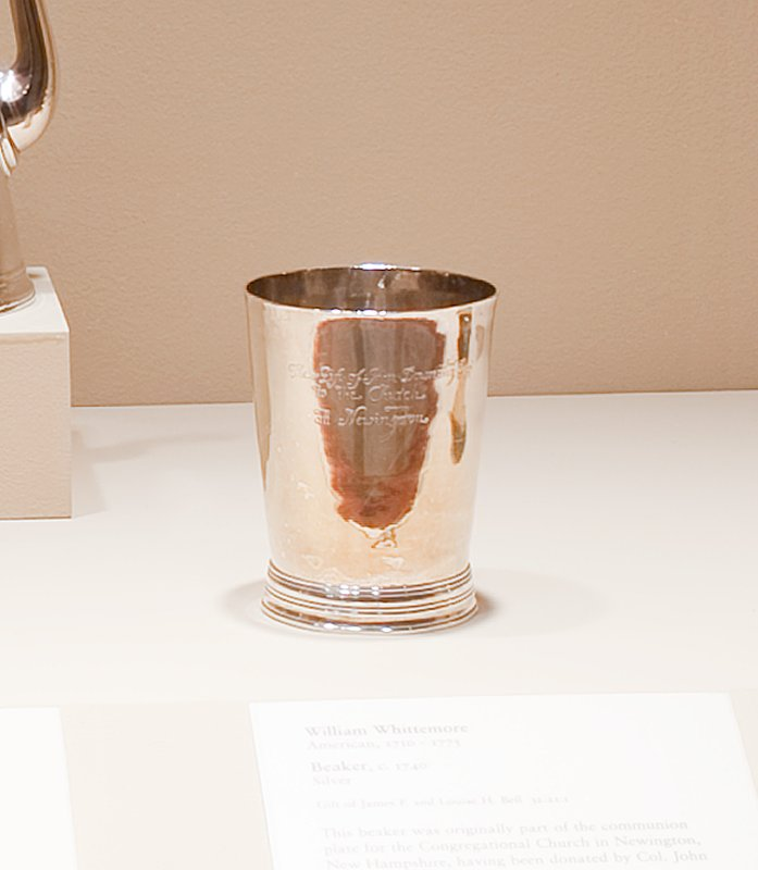beaker, tapered cylindrical body slightly flaring at the rim; moulded base; contemporary engraved inscription