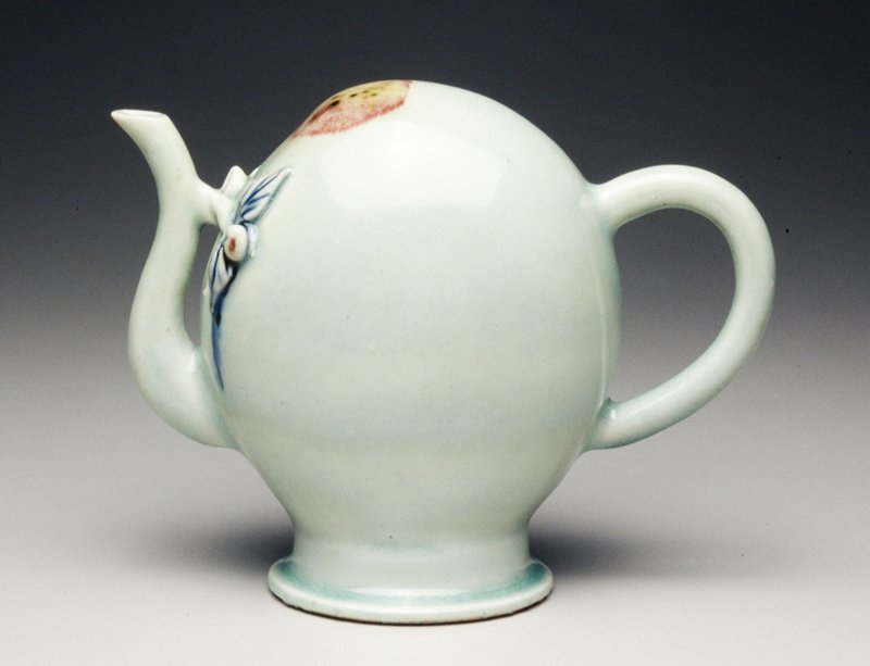 wine pot, Cadogan type with celadon glaze and peachblossom splash