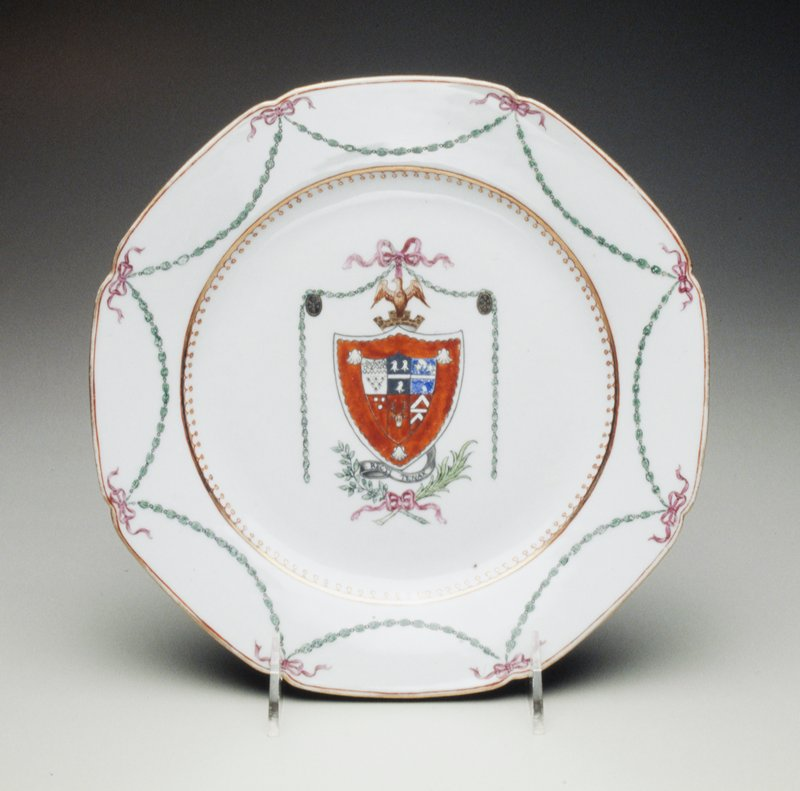 armorial plate, Earl of Lincolnshire with Gay, iron-red shield above motto mantling of green husks suspended from a puce bow