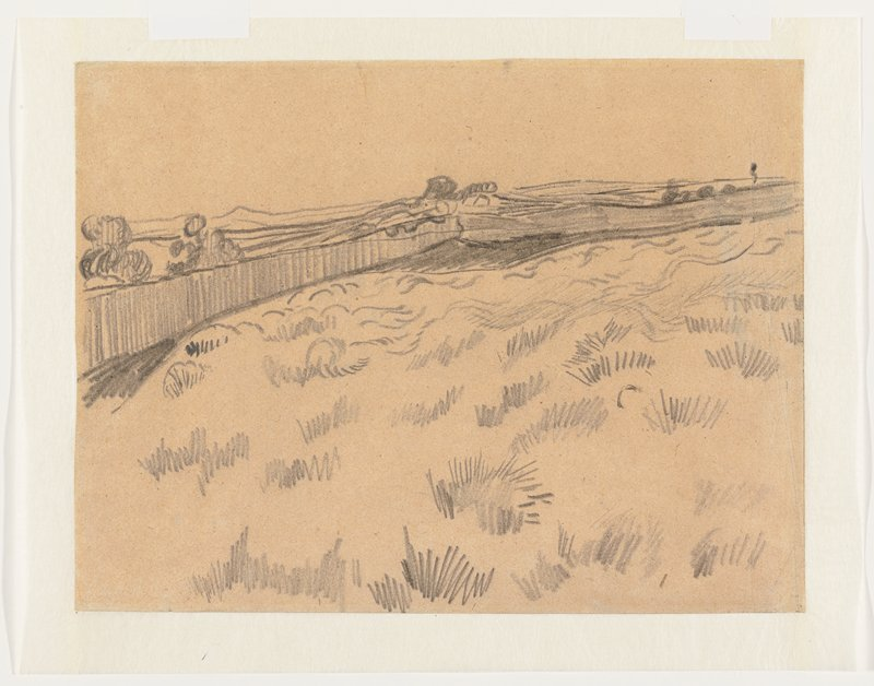 field with fence in background; graphite sketch of building façade, verso