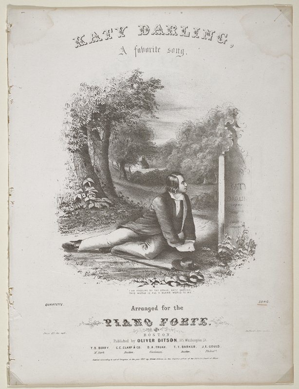 Three pages from a book, includes score and words, generally soiled, sheet music illustrations