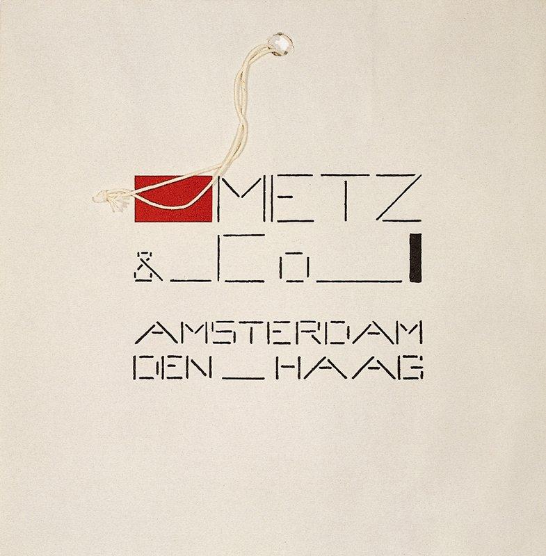 "white bag with black printing: ""METZ &_CōANSTERDAM DEM_HAAG""; red rectangle before ""Metz"", black rectangle after ""Cō""; string through hole top center"