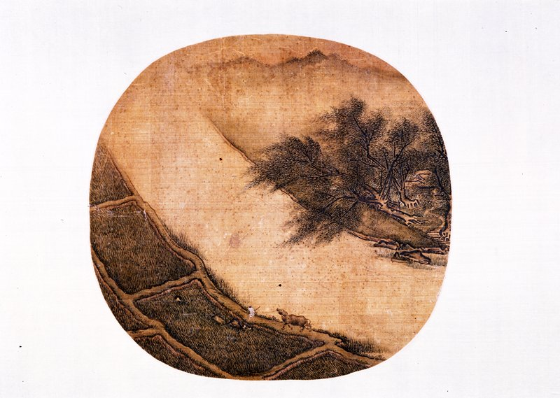 oval fan; image of a boy with an ox at bottom center; farm fields with a path along LL edge; river divides the scene through center from oppisite corner; trees at right side grow over the river, misty nountains in the background at top
