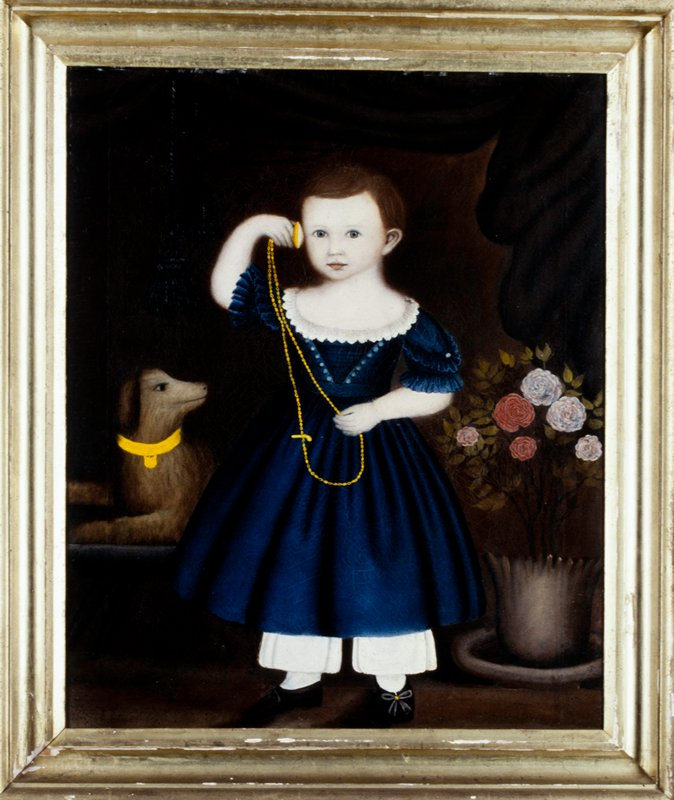 Portrait. American Folk art. Little boy wearing blue dress, white pantaloons and black shoes holding a watch on a long chain up to his proper right ear; dog behind boy on his proper right side and pot of flowers on his proper left side.