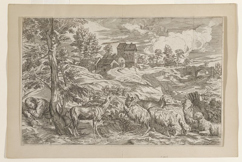 foreground flock of goats grazing; goat herd asleep under tree left foreground; stream at right with arched bridge in center ground; buildings on left side of river center ground and distance