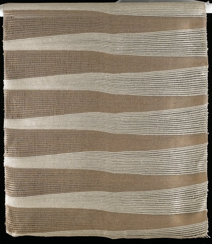 natural linen warp with tan and ecru silk weft producing wide stripes; weft is loosely woven to show linen warp between each silk shot