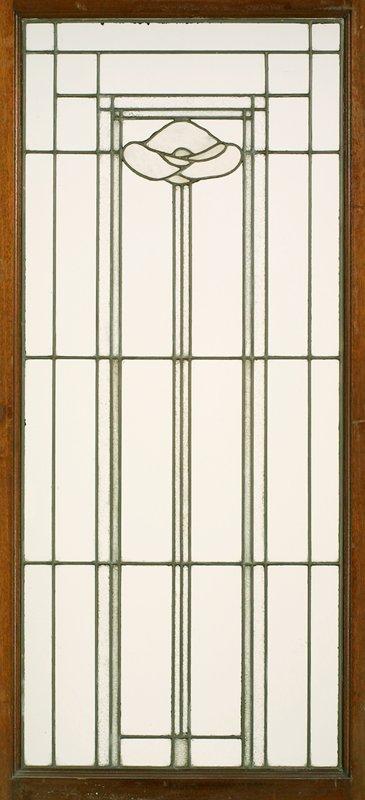 leaded glass door, each with linear Arts & Crafts design with very tall-stemmed, light blue glass poppy