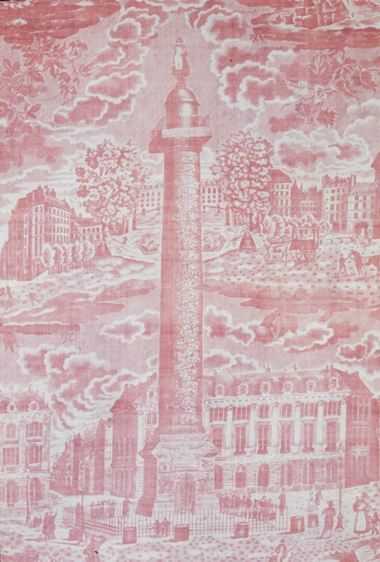 monuments of Paris design in rose; the Place Vendôme, surrounded by four other monuments, including Notre Dame and the Madeleine; possibly one of the designs by Hippolyte Lepas