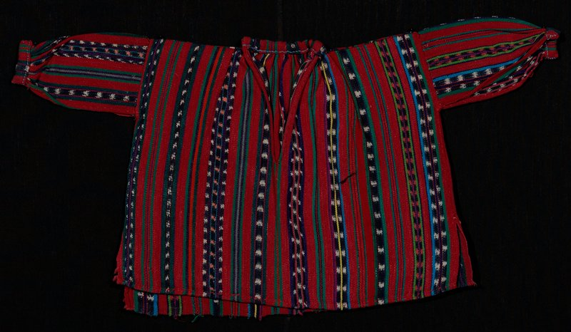 red striped, with stripes in purple, dark and light green, blue and light blue, yellow, orange, peach, pink and indigo blue with ikat designs; sleeves, cuffs and collar woven apart and sewn to main body