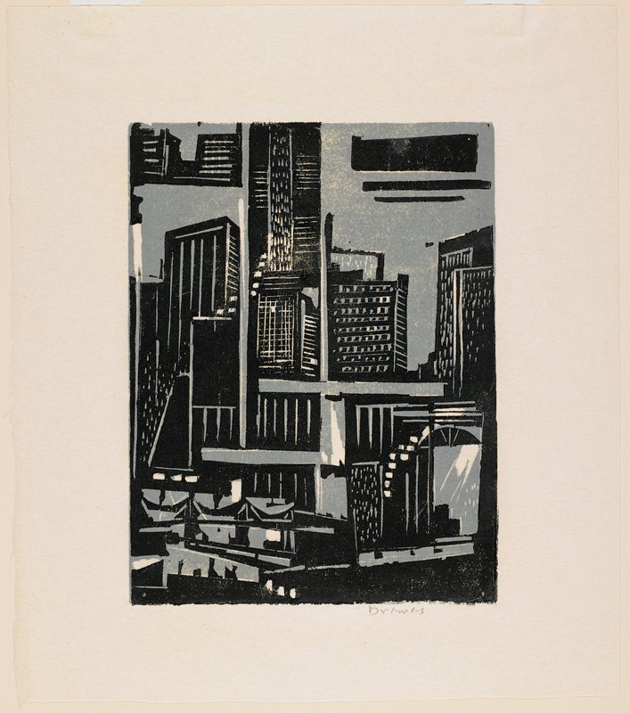 gray-blue and black; abstracted image of buildings, windows, doorways and other architectural elements