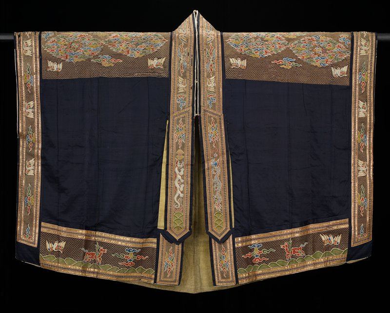 Robe of a Taoist Priest with Buddhist and Taoist symbols embroidered in gold and colors.